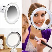 bathroom vanity toptan satış-7x Büyüteç Işıklı Makyaj Aynası Sıcak LED Dokunun Işık Banyo Vanity 360 Derece Dönen Kozmetik Makyaj Kompakt Ayna AAA457
