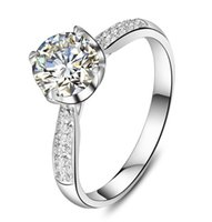 Wholesale brilliant jewelry set for women for sale - Group buy CT Prong Setting Sterling Silver Brilliant White Gold Color Synthetic Diamonds Ring for Women Engagement S925 Jewelry