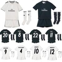 Wholesale quality custom homes - ^_^ Wholesale 18 19 RM Real madrid kids soccer jersey home away custom name number ronaldo 7 AAA quality soccer sets shirts+shorts+socks