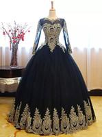 uzun siyah korse balo elbiseleri toptan satış-2018 Yeni Siyah Altın Dantel Quinceanera Elbiseler Artı Boyutu Sheer Uzun Kollu Korse Geri Tül Tatlı 16 Parti Akşam Balo Balo Elbise Q53