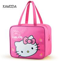 cajas de almuerzo aisladas rosadas al por mayor-Hello Kitty Pink bolsa de almuerzo con aislamiento para niños Pink Tote Lunchbox papel de aluminio caja de envase de aislamiento térmico de lona bolsas de refrigerador