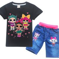 fd2d27754 Verão venda quente top + calça Conjuntos de Roupas Infantis Meninas de  Manga Curta Camisetas + Jeans 2 pcs Coon terno conjunto de roupas infantis