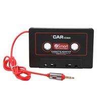 leitor de cassetes 12v venda por atacado-Cassete de carro Cassete Adaptador Fita Cassete Mp3 Player Conversor Para iPod Para iPhone MP3 AUX Cabo CD Player 3.5mm Jack Plug