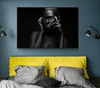 ingrosso ragazze sexy dipingono le stampe-Foto di foto moderne Sexy Girl Lips Eyes Nero Modello Canvas Painting Wall Art For Living Room HD Home Decor Poster And Prints