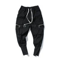 jeans de cintura alta xl al por mayor-Pantalones holgados para hombre Pantalones largos de hip hop Pantalones vaqueros KANYE WEST Streetwear Jeans de cintura elástica de moda Negro High Street Jeans