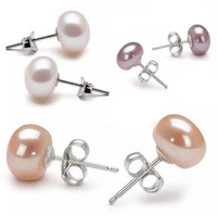 Wholesale earring pearls - Fashion Freshwater Pearl Ball 925 Silver Plated Fresh Water Pearl Stud Earrings for Women Jewelry Christmas gift