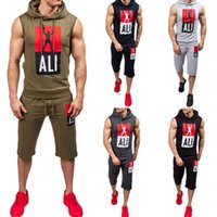 Wholesale army blue suit for sale - Group buy Men Tracksuit Printed Track Gym Suit Sleeveless Hoodie Sports Shorts Summer Running Casual Set Jogger Pants Sport Suit LJJO4207