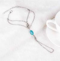 arnés de mano anillo pulsera al por mayor-Pulsera de cadena de moda Drop Punk Silver Plated Mujeres Metal Hand Harness Chain Beads Slave Finger Ring Boho Jewelry