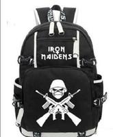 ingrosso ragazzi borse per la vendita-HOT-vendita Iron Maiden Metallica Heavy Metal Rock Band zaino Uomo Wome tracolla da viaggio Zaino per ragazza Zaino per ragazzo
