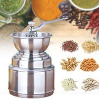 mano de arroz al por mayor-Máquina para moler acero inoxidable café a mano molinillo molino máquina de arroz sésamo granos de café molinillos manuales para el hogar