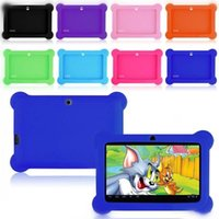 "Wholesale China Kids Tablets - Anti Dust Kids Child Soft Silicone Rubber Gel Case Cover For 7"" 7 Inch Q88 Q8 A33 A23 Android Tablet pc MID Free shipping 10 colorful"