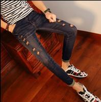 Wholesale Jeans Boys Feet - Jeans men's nine-point pants teenage boy students winter stretch pants south Korean version of the trend 2018 slim feet.