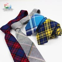 узкие серые галстуки оптовых-New Ties For Men Sunny Soft Cotton Collections Bright Gray Blue Red Colors Plaid Striped Necktie Narrow Male Neckware