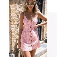 Wholesale xs sexy club dresses - Summer Dress 2018 Sexy Women Floral Print Spaghetti Strap Backless A Line Dress Beach Casual Short Dresses