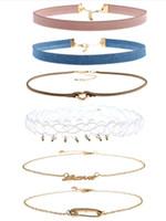 seks boynu zinciri toptan satış-6 adet set Chokers Boyun Zinciri Taze Genç Kızlar Mücevherat Yeni stil Moda Kadınlar için Eğilim Seks Aşk Kolye