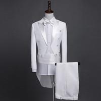 abrigo negro brillante al por mayor-Nuevo Plus Size S-4XL Mens Classic Negro Blanco Shiny Solapel Tail Coat Tuxedo Novio de la boda Cantante etapa Cuatro piezas Traje