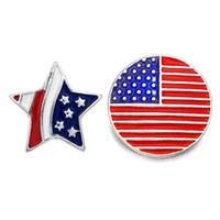 metal amerika bayrağı toptan satış-Yüksek kalite Amerikan bayrağı 070 18mm 20mm rhinestone metal düğme için Kadınlar için snap düğmesi Bilezik Kolye Takı Gümüş takı