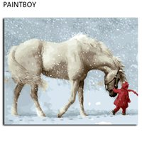 Wholesale Horse Abstract Wall Oil Paintings - Framed Pictures Painting By Numbers DIY Digital Canvas Oil Painting Home Decor Wall Art White Horse In Winter GX9600 40*50cm