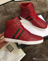 dans spor ayakkabıları erkekler toptan satış-2017 Tasarımcı Lüks Marka Rahat Erkekler Ayakkabı Siyah Mens Perçin Moda Çizmeler Tasarımcı Dans Hip Hop Sneakers Yüksek Üst Boyutu 38-44