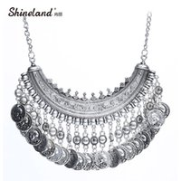 Wholesale snake bib necklace - whole sale2017 New Design Women's Fashion Silver Coins Pendant Statement Bib Charm Choker Coin Choker Necklace Statement Maxi Necklaces