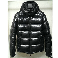 Wholesale french clothing sizes online - French Brand Duck down clothing Men Glossy Jacket Stand Collar Hooded Down Parak Mens Zipper Arm Pocket Shiny Coat Plus Size