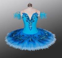 ingrosso tutus blu per le donne-Costume da palcoscenico di balletto classico blu per gonna da tutu pancake da donna tutu di variazione uccello blu uccello pancake di tutu di balletto professionale per ragazze adulte