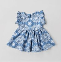 Wholesale Free Flower Petals - dress 2018 INS Europe and America new arrival Girl summer flower printed girl high quality cotton cute Lotus leaf sleeve dress free ship