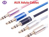 cable hdtv de la computadora al por mayor-Línea AUX de metal tejida de nylon de alta calidad AUX cable de audio del coche del cable de 3.5MM para el altavoz Ordenador portátil del teléfono Universal Mix Color 1 metro NO02