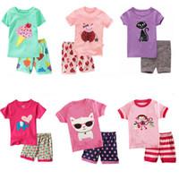 tier-pyjamas groihandel-2018 neue baby pyjamas outfits baumwolle jungen mädchen animal print top + shorts 2 teile / satz cartoon kinder kleidung sets c3373