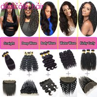 Wholesale Hair Items - 8A Brazilian Hair with Frontal Closure Human Hair Bundles Kinky Curly,Straight Hair,Deep Wave,Water Wave,Body Wave Virgin Hair Cheap Items