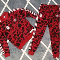 mens spor eşofmanı toptan satış-Maymun Kafa Mens Tasarımcı Eşofman Rüzgarlık + Pantolon Spor Koşu Set Koleji Yüksek Sokak Stili Kitleri Rahat Moda Ceket Pantolon Suits