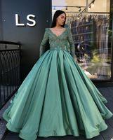 Wholesale lilac aqua dresses - Aqua Deep V Neck Ball Gown Quinceanera Dresses Prom Dresses Pleats for Sweet 16 Princess Prom Gowns Quinceanera Gowns Prom Dress Satin