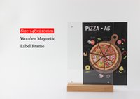 Wholesale posters banners - A5 Wooden base Price banner Display Stand Table Desktop Sign menu list advertising poster frame holder rack