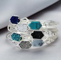 Wholesale bracelet red stone resale online - Fashion Druzy Drusy Bracelet Silver Gold Plated Popular Faux Stone Turquoise Bracelets For Women Lady Jewelry