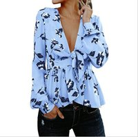 Wholesale ladies blouses sale - Hot Sale Women Shirts Deep V-neck Blouse Sexy Woman Shirt Long Sleeves Floral Tops Loose Formal Clothing for ladies tops (G