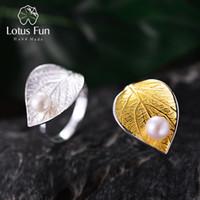 ingrosso anello naturale della perla reale-Lotus Fun Real 925 Sterling Silver Natural Pearl Designer Designer Fine Jewelry Creativo aperto anelli anelli foglia per le donne Bijoux D1892601