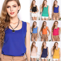 Wholesale womens collared blouse - Womens Summer Casual Chiffon Vest 11 Colors Basic New Blouse Fashion Tank Solid Shirt Vest Tops Sleeveless S-3XL EEA430 20PCS