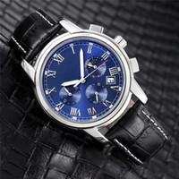 neue marke goldene uhr großhandel-Neue Marke Edelstahl Quarz Leder Uhr Japan Bewegung Uhren wasserdichte 40mm männliche Armbanduhren Nachtleuchtende Funktion