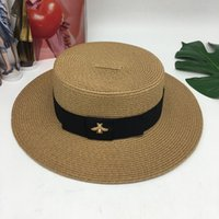 Wholesale small brim straw hats online - Fashion Vintage Weave Small Bee  Straw Cap Pure Color a4d0a52c7a3