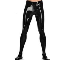 siyah lateks kauçuk erkekler toptan satış-2018 yeni varış seksi egzotik erkek erkek el yapımı siyah Lateks pantolon kauçuk tayt kasık fermuar ile cekc zentai fetiş üniforma