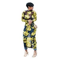 örgü maxi yazlık elbise toptan satış-Yaz Kadınlar Uzun Çiçek Elbise Artı Boyutu Uzun Kollu Kulübü Örgü Elbise See Through Seksi Parti Plaj Maxi Elbiseler Vestidos