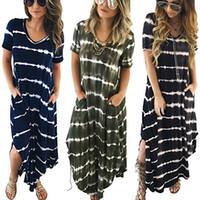 Wholesale Ladies Striped Maxi Dress - Women Maxi Long Dress Summer Style Sexy Ladies Beach Split Dress Striped Boho Long Short Sleeve Casual Vestidos