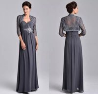 Wholesale jacket grey sheath - 2018 Stunning Beaded Mother Of The Bride Dresses With Lace Jacket Sweetheart Grey 3 4 Sleeve Evening Gowns Floor Length Wedding Guest Dress