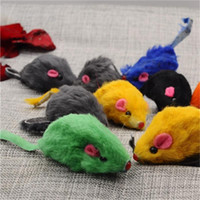 Wholesale feather leather hair online - Simulation Mouse Cat Toys Mini Funny Artificial Rabbit Hair Genuine Leather False Mouses Ringing Pet Supplies Pure Color sp ff