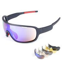 ingrosso occhiali da sole polarizzati in policarbonato-Occhiali da sole di marca di alta qualità Occhiali da sole polarizzati caldi Occhiali da sole di occhiali da sole UV400 Uomo Occhiali da sole a prova di vento Occhiali da sole da ciclismo con 5 lenti
