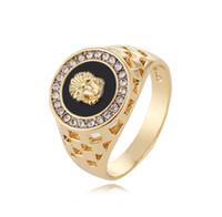 ingrosso anelli di barretta dell'anca-Gli uomini caldi di vendita dell'anello anillos di modo Hip Pop Medusa si dirigono l'argento d'argento di colore nero dell'anello per gli uomini Monili del partito delle donne Dimensione 10 11