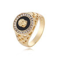 Wholesale finger rings fashion online - Hot Sale Men Ring Fashion anillos Hip Pop Gold Silver Color Black Finger Ring for Men Women Party Jewelry Size