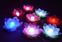 ingrosso lampade decorative di loto-La nuova lampada LED Lotus arriva in una colorata piscina galleggiante galleggiante che desidera lampade luminose Lanterne per la decorazione del partito
