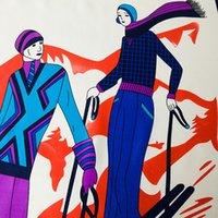 ingrosso grande scialle rosso-Sciarpa quadrata grande stampa twill per le donne Design di lusso Grandi sciarpe rosse scialli sciarpe