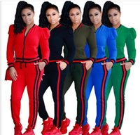 Wholesale New Fashion Suits For Women - New Women's suits Fashion 2 Piece Set Tracksuit For Women Pant And Sweatsuits Printed Women's Suits Clothing